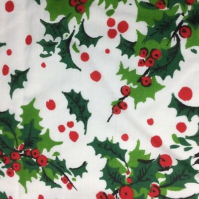 Holiday Fabric Tablecloth Holly Leave Berries White Red Trim Rectangle Christmas