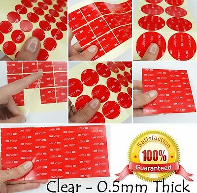 CLEAR ~ 0.5mm Thick ~ 3M VHB Acrylic Foam Pads ~ SQUARES & CIRCLES Large & Small