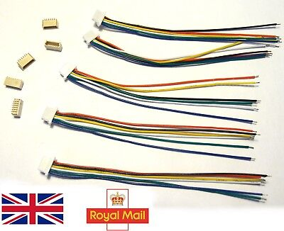 5x 10x Micro JST SH 1.0mm 6 Pin Connector Male Plug / Female Wire 100mm UK