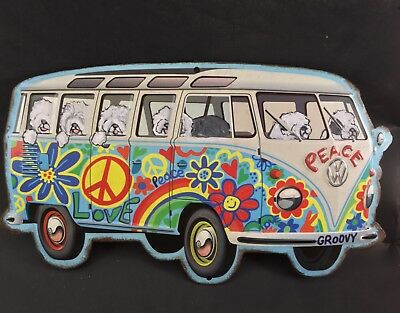 Tin sign Hippie Bus filled with hand painted Old English sheepdog