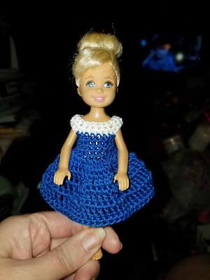 Hand crocheted Mattel Chelsea//Kelly Doll Clothes--Blues