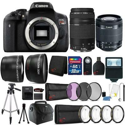 Canon EOS Rebel T6i Camera  w/ 18-55mm Lens , 75-300mm Lens & 32GB Accessory Kit