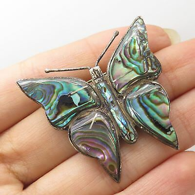 Vtg Mexico 925 Sterling Silver Abalone Shell Butterfly Pin Brooch