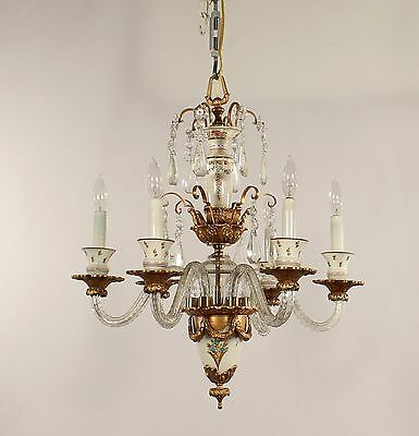 Antique 6 Light Bronze, Crystal & Hand Painted Glass Spanish Chandelier