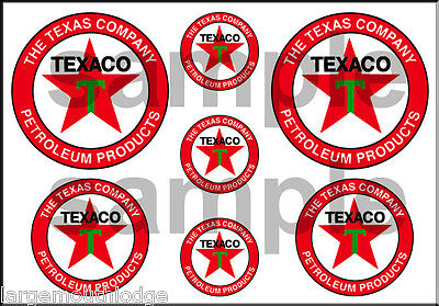 1 1/2 3/4 Inch Texaco Decals Stickers
