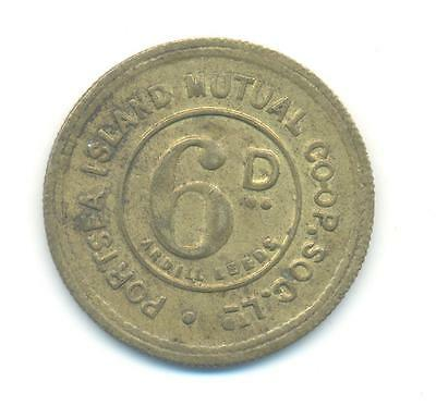 RARE.PORTSEA ISLAND MUTUAL CO-OPERATIVE SOCIETY 6d TOKEN VERY COLLECTABLE.