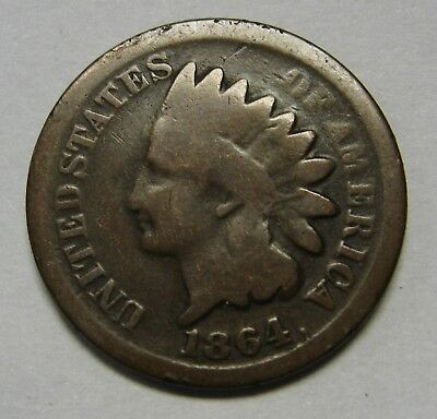 1864 Bronze Civil War Indian Head Cent in Average Circulated Condition DUTCH