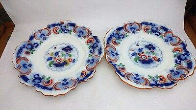 "Pair of Antique Flow Blue Polychrome 9 1/4"" Square Plates Asian Style Decor"