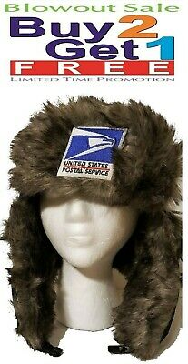 USPS Postal Trapper Bomber Aviator Russian Trooper Fur Winter Ski Hat w/Earflaps