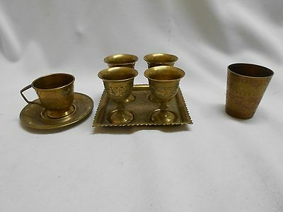 box lot vintage solid brass cup & saucer , sherry / shot glasses , small glass
