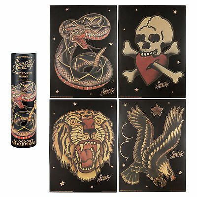 Sailor Jerry Limited Edition Collectible Original Tattoo Poster & Canister 15X11