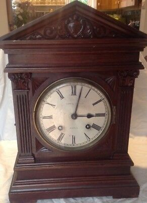 19th C. WALNUT MANTLE CLOCK 8 DAY