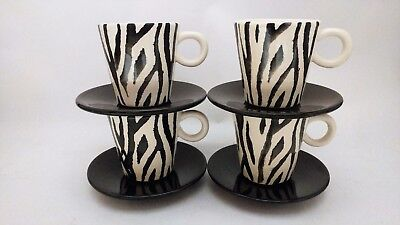 Loucarte - Made in Portugal Hand Painted Zebra Print Demitasse Cups & Saucers