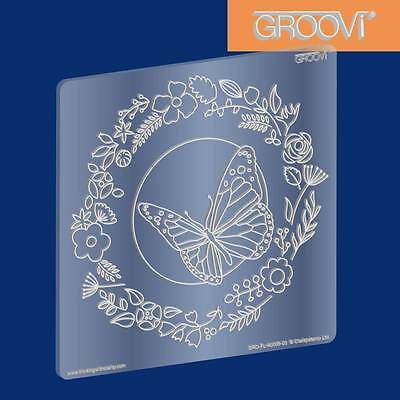 CLARITY STAMP GROOVI Parchment Embossing Plate BUTTERFLY WREATH GRO-FL-40005-03