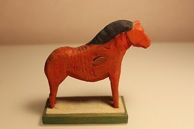 Antique Swedish Dala Horse. Folk Art Carved Sweden Hand Painted