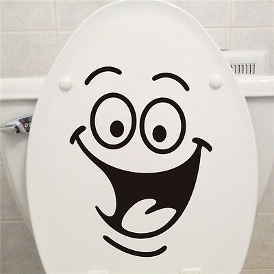 Smiley Face WC Toilet Decals Wall Mural Art Decors Funny Bathrooms Sticker Vinyl