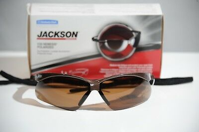 6c40a506d689 Jackson Safety Nemesis V30 Polarized Drivers Lens Sun Safety Glasses 28637  Brown