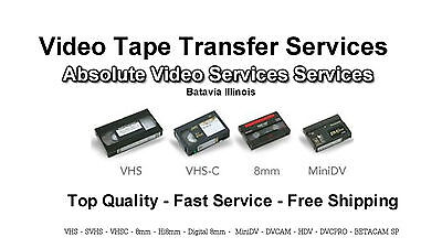 Video Tape Transfer Service to DVD VHS 8MM MiniDV 50 Tape Package Special
