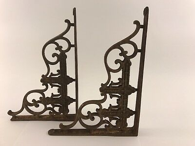 Real Antique Victorian Cast Iron Architectural Shelf Brackets Authentic
