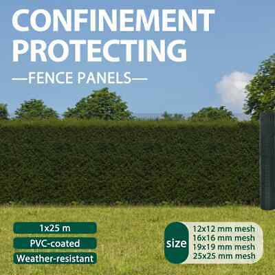 vidaXL 1x25m Galvanised Wire Net Mesh Poultry Fencing Chicken Coop 12/16/19/25mm