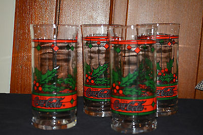 Set of 4 COCA COLA Holly Berry Christmas Glasses