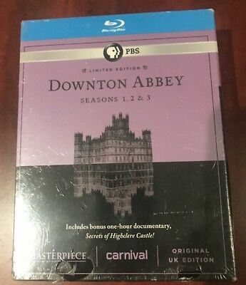 Masterpiece: Downton Abbey - Seasons 1-3 (Blu-ray Disc, 2013, 9-Disc Set)+ Bonus