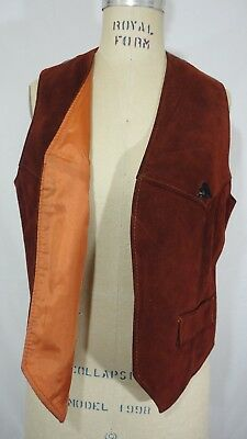 VINTAGE Jordache SUEDE Leather Denim Patch Vest 70s 80s (Brown Red Blue) Size L