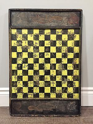 REDUCED Late 19th Antique 2 Side Gameboard Original Paint - Carved Beaver Heart