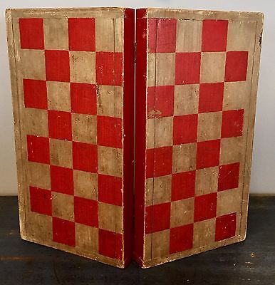 RARE Early Original Antique Late 19th Century Folding Painted Gameboard Checkers