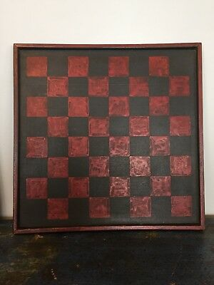 Late 19th C. Antique Old Gameboard Original Black & Red Paint Ontario Canada