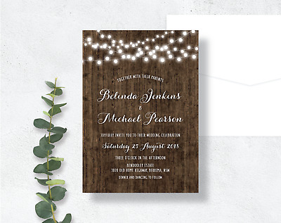 Rustic Wedding Invitation / Wood Timber String Fairy Lights Vintage Country