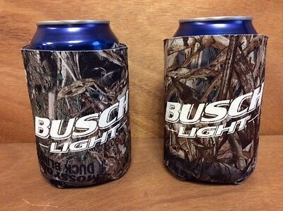 Busch Light Real Tree Mossy Oak Camo Beer Koozies - Set Of 2 - BRAND NEW & F/S