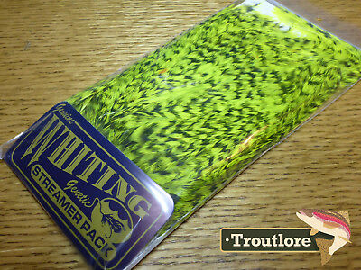 Whiting Farms Chartreuse American Streamer Pack Saddle Hackle New Fly Tying