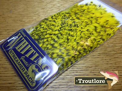 Whiting Farms Yellow American Streamer Pack Saddle Hackle New Fly Tying Feathers