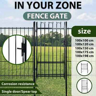 vidaXL Single Door Fence Gate Garden Security Fencing Spear Top Steel Multi Size