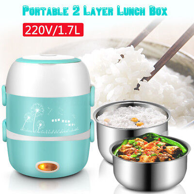 AU Portable Electric Lunch Box 2 Layer 1.7L Steamer Rice Cooker Stainless Steel