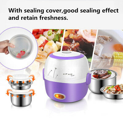 AU Portable Electric Lunch Box 2 Layer 1.3L Steamer Rice Cooker Stainless Steel