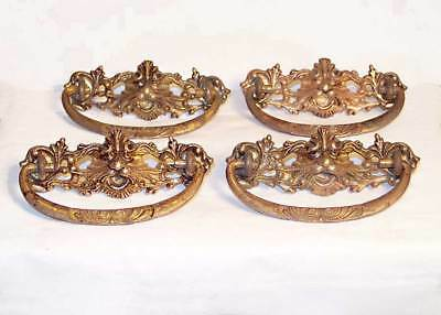 Antique Brass Lion Head Drawer Pulls Or Handles Set of 4. Circa 1800's