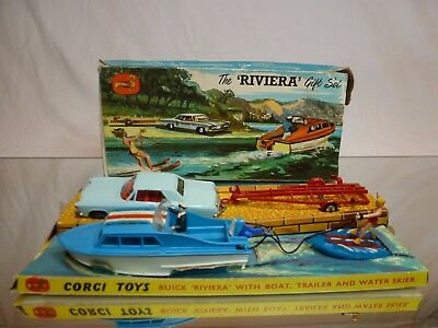 Corgi Toys  Gift Set 31 Buick Riviera + Dolphin 20 Cabin Cruiser - Good In Box