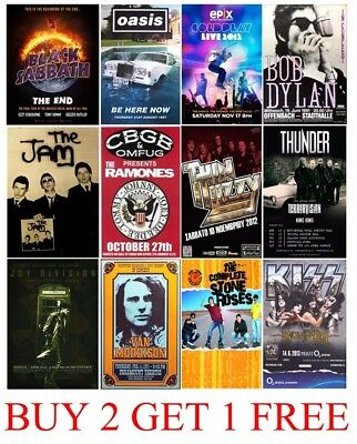 BEST CONCERT POSTERS A3 A4 Rock Metal 60s 70s 80s 90s Vintage MATT OR GLOSSY