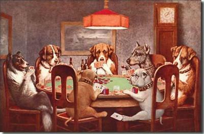 7 Dogs Playing Poker Nostalgic Casino Tin Metal Sign Cheating