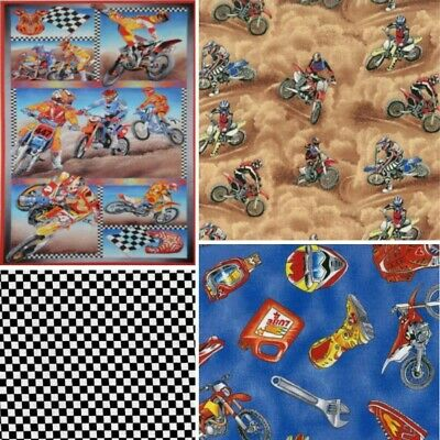 100% Cotton Patchwork Fabric Nutex Motocross Dirt Bike Racing Motorcycle