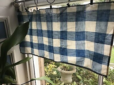 Stunning Antique french Vichy Check Shabby Chic fabric curtain Gingham Panel
