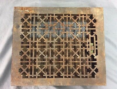 Antique Cast Iron Floor Heat Grate Vent Register Arts Crafts Vtg 12x10 41-17B