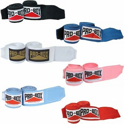 Pro Box Boxing Hand Wraps ABA Spec Stretch Bandages 2.5m 3.5m 4.5m Black Red