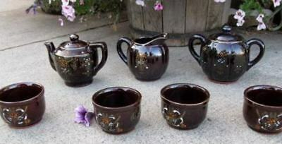 Tea Set for 4 Authentic Brown Floral Swirl Tea Pot Sugar Creamer 7 pc Set Japan