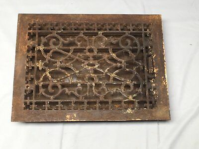 Antique Cast Iron Heat Grate Floor Vent Register Vtg Victorian Old 14x10 48-17B