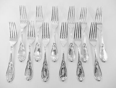 "Set 12 Antique Sterling ""Grecian"" Tiffany Co - Hebbard Luncheon Forks  S-91"