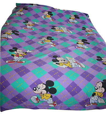 Vintage French CTI Disney Mickey Mouse Flat Twin Bed Sheet