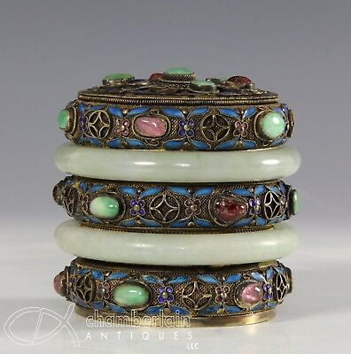 Old Chinese Gilt Silver Covered Box With Two Jade Bangles And Enamel